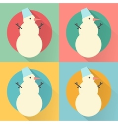 Happy new year icon set of flat design snowman vector