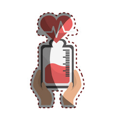 Bag donation blood and heartbeat in the hands vector