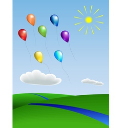 Balloons with the landscape vector
