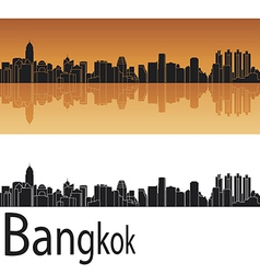 Bangkok skyline in orange background vector image