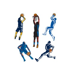 Basketball Woodcut Collection vector image vector image