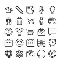Business and office line icons 4 vector