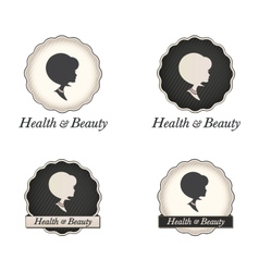 Cameo silhouette logo with scallop frame and text vector