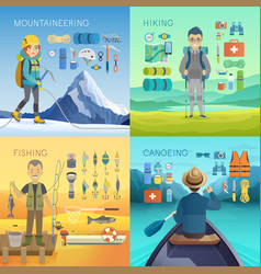 camping hiking mountaineering fishing canoeing vector image vector image