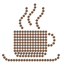 Coffee cup composition with coffee beans vector