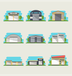 Commercial storehouse isolated set vector
