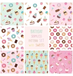 Cute seamless pattern set with different sweets vector image