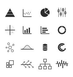 Data chart diagram icon set vector