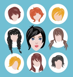 different girls hairstyle collection vector image vector image