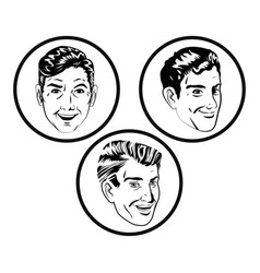 face men comic style black and white vector image