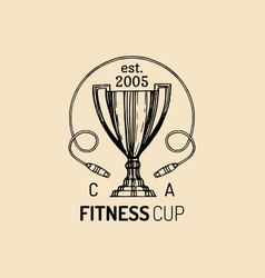 Fitness logo hand sketched athletic cup vector