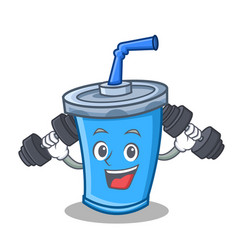 Fitness soda drink character cartoon vector