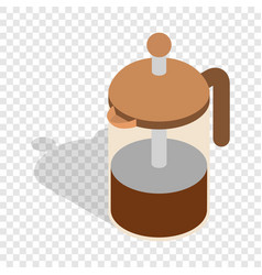 french press coffee maker isometric icon vector image vector image
