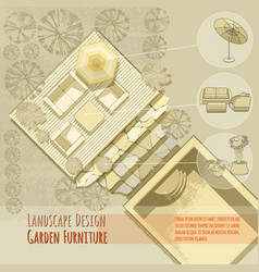 garden design lounge chairs umbrella top view vector image - Garden Furniture Top View