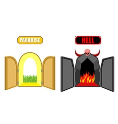 Gates of hell and paradise Entrance to Satan and vector image