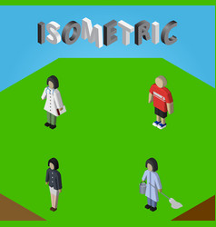 Isometric person set of guy girl housemaid and vector