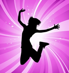 jumping woman vector image