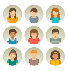 Kids different races round flat avatars vector image