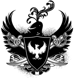 ornamental shield with arms vector image vector image