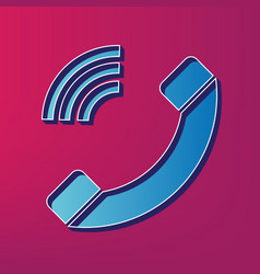 Phone sign blue 3d printed vector