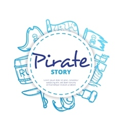 pirate icons circle composition vector image vector image