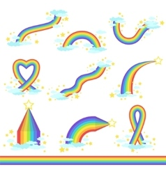 Rainbows Of Different Fantastic Shape Set Of Icons vector image