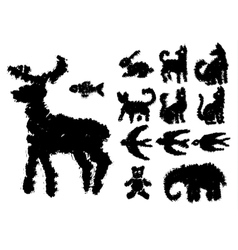 Set of grunge ink elements vector image