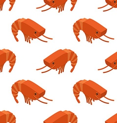 Shrimp isometric seamless pattern Marine plankton vector image vector image