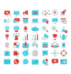 Social media marketing modern flat icons set vector