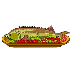 sturgeon fish baked with vegetables on a platter vector image vector image