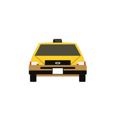 Taxi icon in flat style yellow car vector