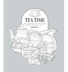 Tea time vintage sketch vector