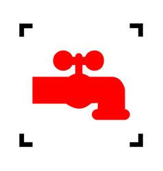 water faucet sign red icon vector image