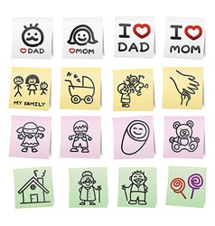 Hand draw cartoon on paper note stickers eps10 vector image