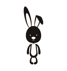 black silhouette of skinny rabbit vector image