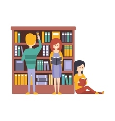 Library or bookstore with people choosing and vector