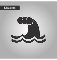 Black and white style nature tsunami danger vector