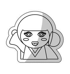 Kokeshi doll souvenir outline vector