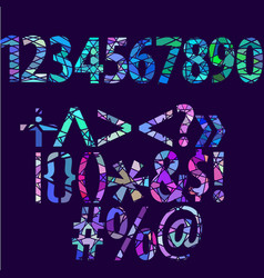 Big set of separated numbers and symbols abstract vector