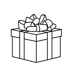 Outline wrapped gift box decorated with big ribbon vector