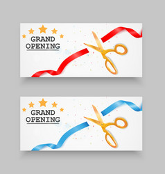 grand opening banner with confetti vector image