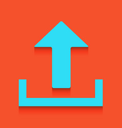 Upload sign whitish icon on vector