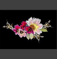 Colorful embroidery on a black background vector
