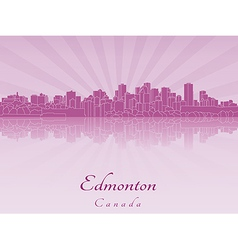 Edmonton skyline in purple radiant orchid vector