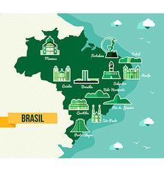 Landmark Brazil map silhouette icon vector image