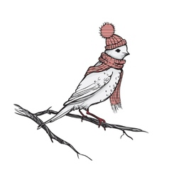 Retro of the bird on branch vector