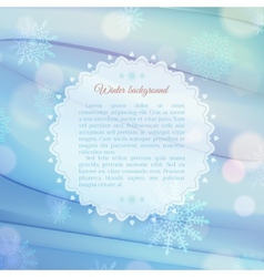 Magical snowflake background with frame for text vector