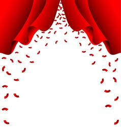 Red ribbon fall from red curtain on white vector