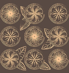 Decorative oranges lemons and limes in vintage vector