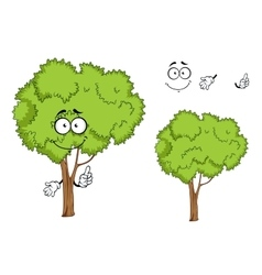 Cartoon isolated green tree character vector